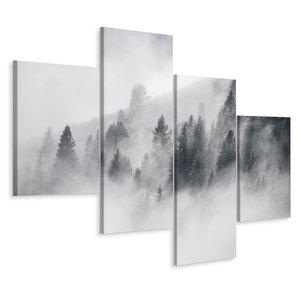 Schilderij - Mist in het bos, zwart/wit, 4 luik, premium print