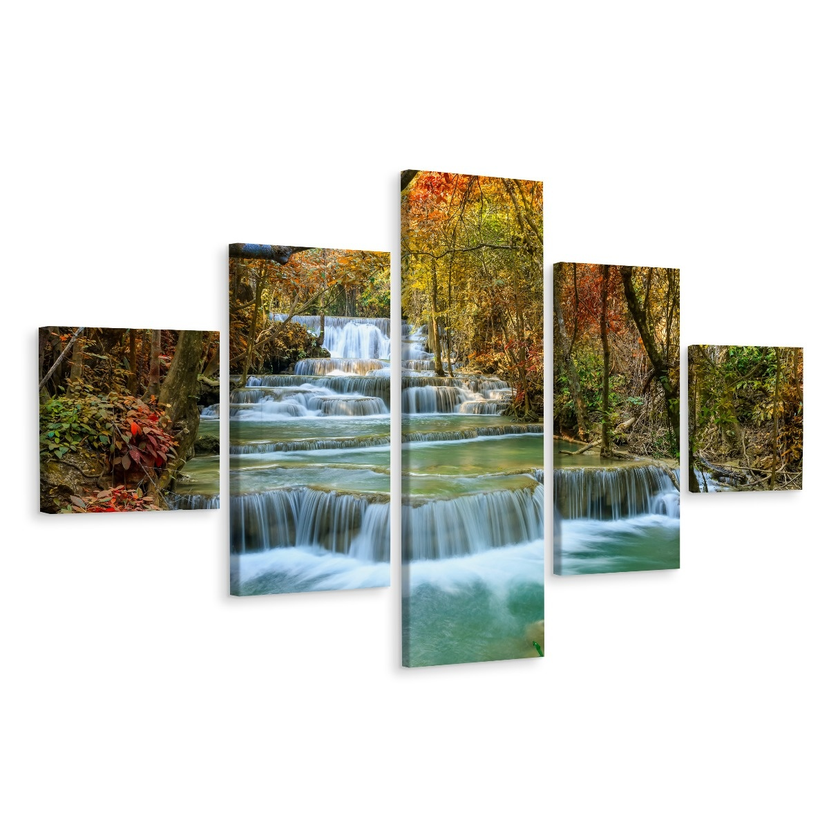 Schilderij - Prachtige waterval in het herfst bos, aanrader van het Karo-art team, 5 luik, premium p
