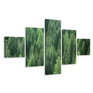 Schilderij - Prachtig Dennenbos, groene wanddecoratie, 5 luik, premium print