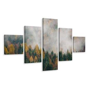 Schilderij - Herfst bos in de lente, 5 luik, premium print, wanddecoratie