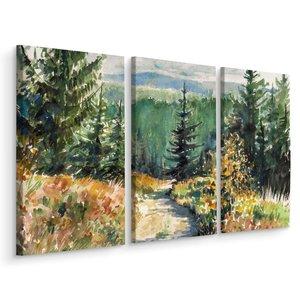 Schilderij - Prachtig landschap, 3 luik, print op canvas, premium print