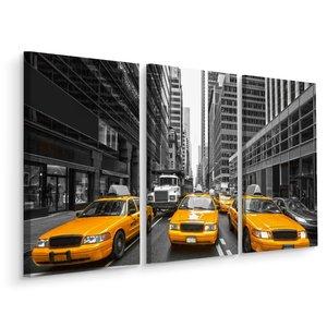 Schilderij - Gele taxi's in New York, USA, 3 luik, premium print