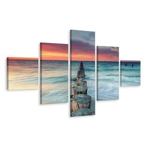 Schilderij - Prachtige zonsondergang over de zee, 5 luik, premium print