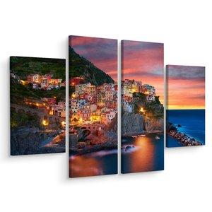 Schilderij - De stad Manarola in Italië, 4 luik, prachtige print