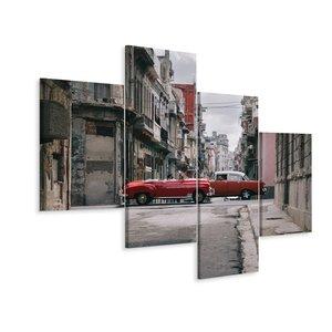 Schilderij - Oldtimers in Cuba, rood,  4  luik, premium print