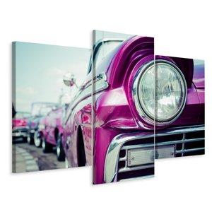 Schilderij - Retro stijl autokoplamp in Cuba, 3 luik, premium print