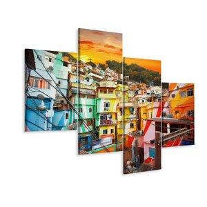 Schilderij - Kleurrijke Favela, Rio de Janeiro, Brazilië, 4 luik