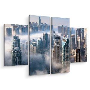 Schilderij - Panorama van Dubai in de mist, 4 luik, prachtige premium print
