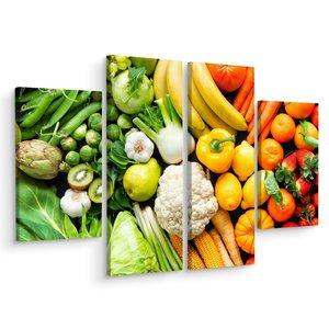 Schilderij - Groente en fruit, 4 luik, premium print, wanddecoratie