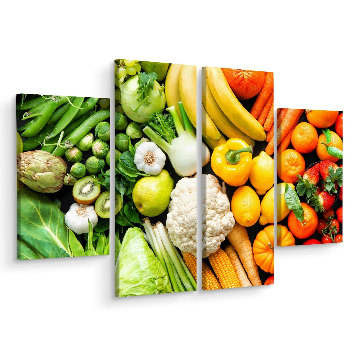 Multipart Canvas print Fruits and vegetables in rainbow colors Canvas 80x60 cm (2x 20x60 cm + 2x 20x