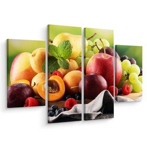 Schilderij - Vers zomerfruit, 4 luik, premium print, wanddecoratie