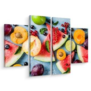 Schilderij - Fruit is gezond, 4 luik, premium print, multikleur