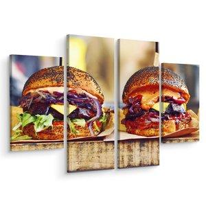 Schilderij - Veganistische hamburgers, vegan, 4 luik, premium print