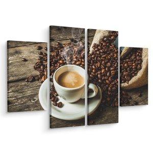 Schilderij - Een kop hete koffie en bonen, horeca, 4 luik, premium print