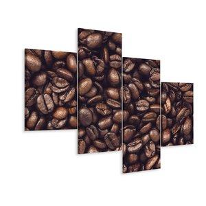 Schilderij - geroosterde koffiebonen, 4 luik, premium print