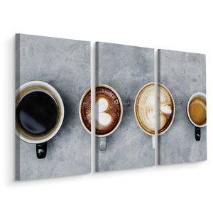 Schilderij - Kopjes koffie op een rij, 3 luik, horeca, premium print