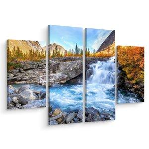 Schilderij - Prachtig landschap met waterval, 4 luik, premium print