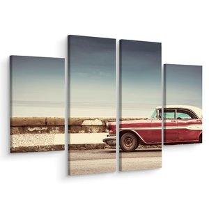 Schilderij - Oldtimer op de weg, 4 luik, premium print