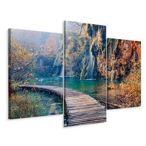 Schilderij - Loopbrug door het paradijs, 3 luik, premium print