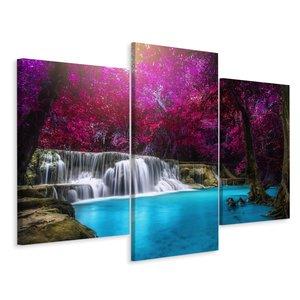Schilderij - Kanchanaburi waterval Thailand, 3 luik, premium print