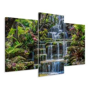 Schilderij - Waterval in Thailand, 3 luik, premium print