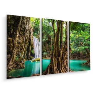 Schilderij - Erawan Waterval Thailand, 3 luik, premium print
