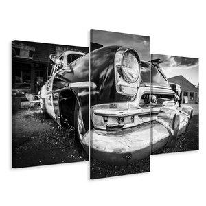 Schilderij - Amerikaanse oldtimer in zwart en wit, 3 luik, premium print