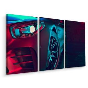 Schilderij - Voorkant van een 3D sportwagen, 3 luik, premium print