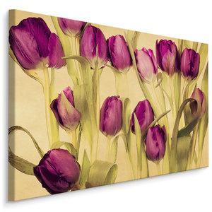 Schilderij Paarse tulpen (print op canvas), 4 maten, wanddecoratie