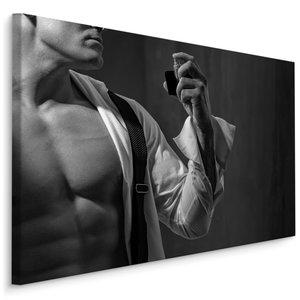 Schilderij - Verzorgde man, zwart-wit, 4 maten, wanddecoratie