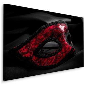 Schilderij - Carnival masker, zwart/rood, 4 maten, premium print