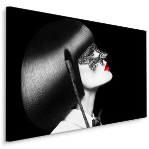 Schilderij - Gemaskerde vrouw, zwart-wit/rood, 4 maten, wanddecoratie
