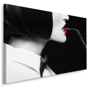 Schilderij - Vrouw met zweep, zwart-wit/rood, 4 maten, premium print
