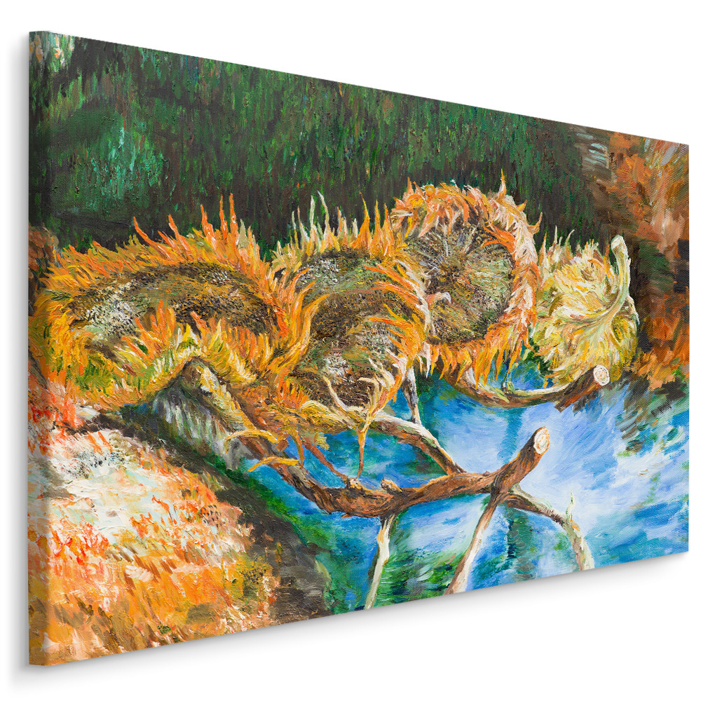Schilderij - Zonnebloemen (print op canvas), multi-gekleurd, 4 maten, premium print