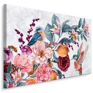 Schilderij - Bloemen en Kolibrie in Aquarel II (print op canvas), multi-gekleurd, 4 maten, wanddecoratie