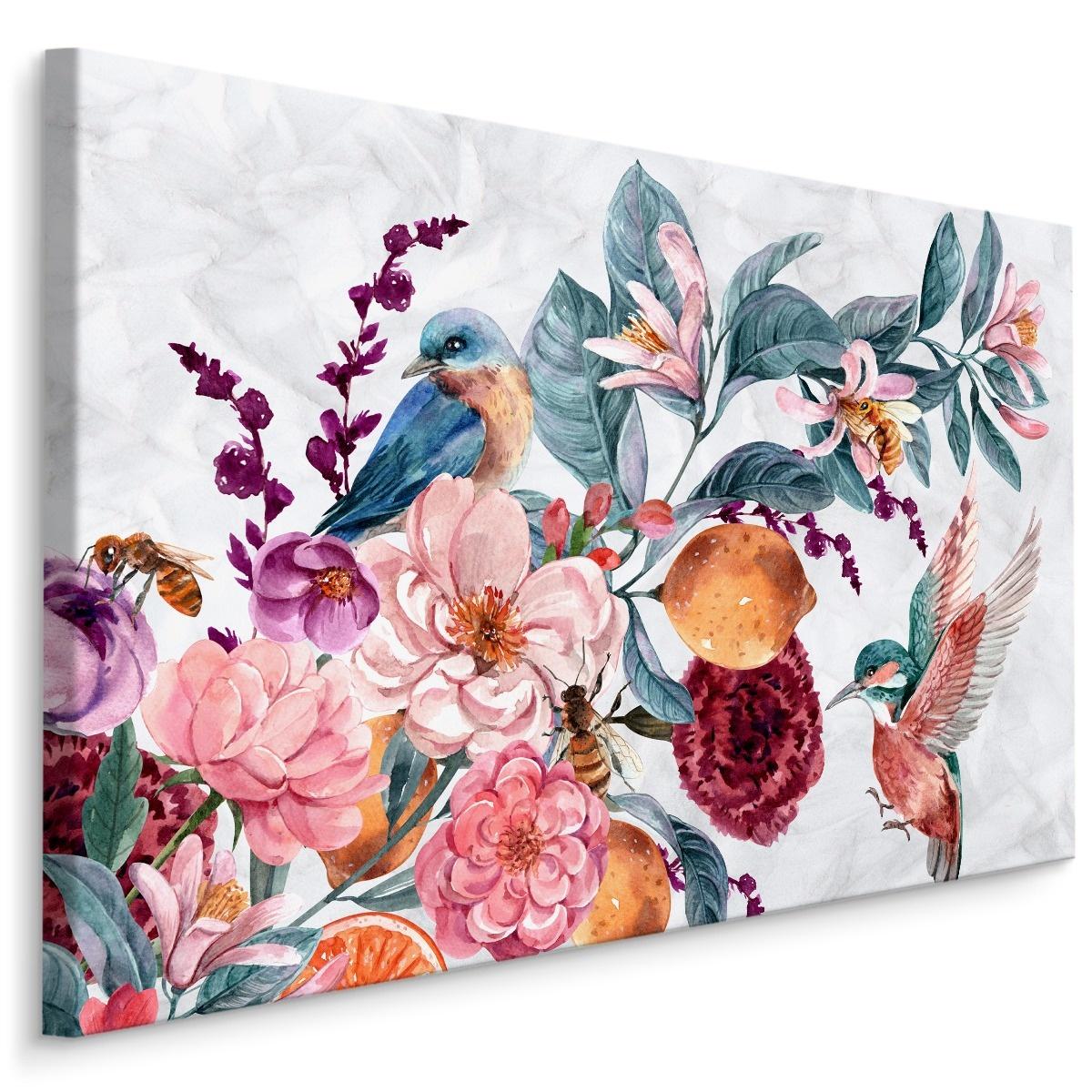 Schilderij - Bloemen en Kolibrie in Aquarel II (print op canvas), multi-gekleurd, 4 maten, wanddecor