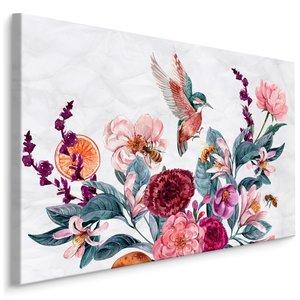 Schilderij - Bloemen en Kolibrie in Aquarel (print op canvas), multi-gekleurd, 4 maten, wanddecoratie