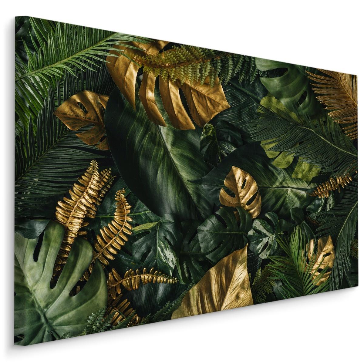 Schilderij - Gouden Jungle, 4 maten, wanddecoratie