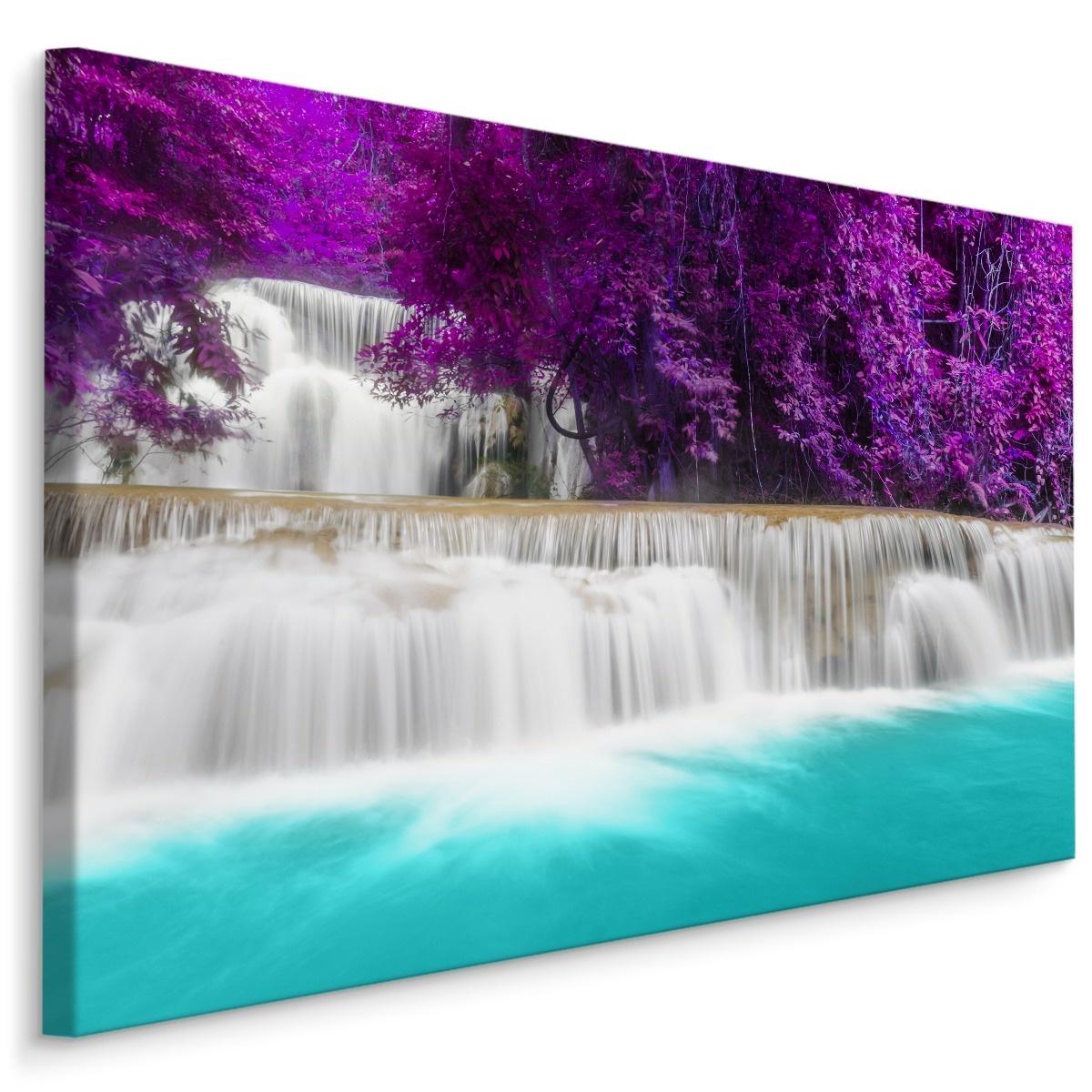 Schilderij - Wonderbaarlijke waterval, paars/blauw, 4 maten, wanddecoratie
