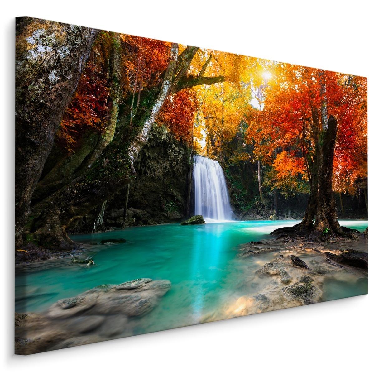 Schilderij - Waterval en herfst bos, multi-gekleurd, 4 maten, wanddecoratie