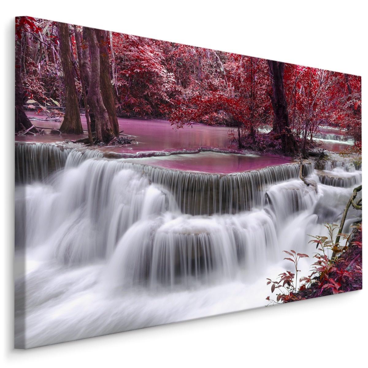 Schilderij - Rode waterval, 4 maten, premium print