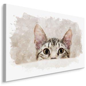 Schilderij - Nieuwsgierige kat, beige, 4 maten, wanddecoratie