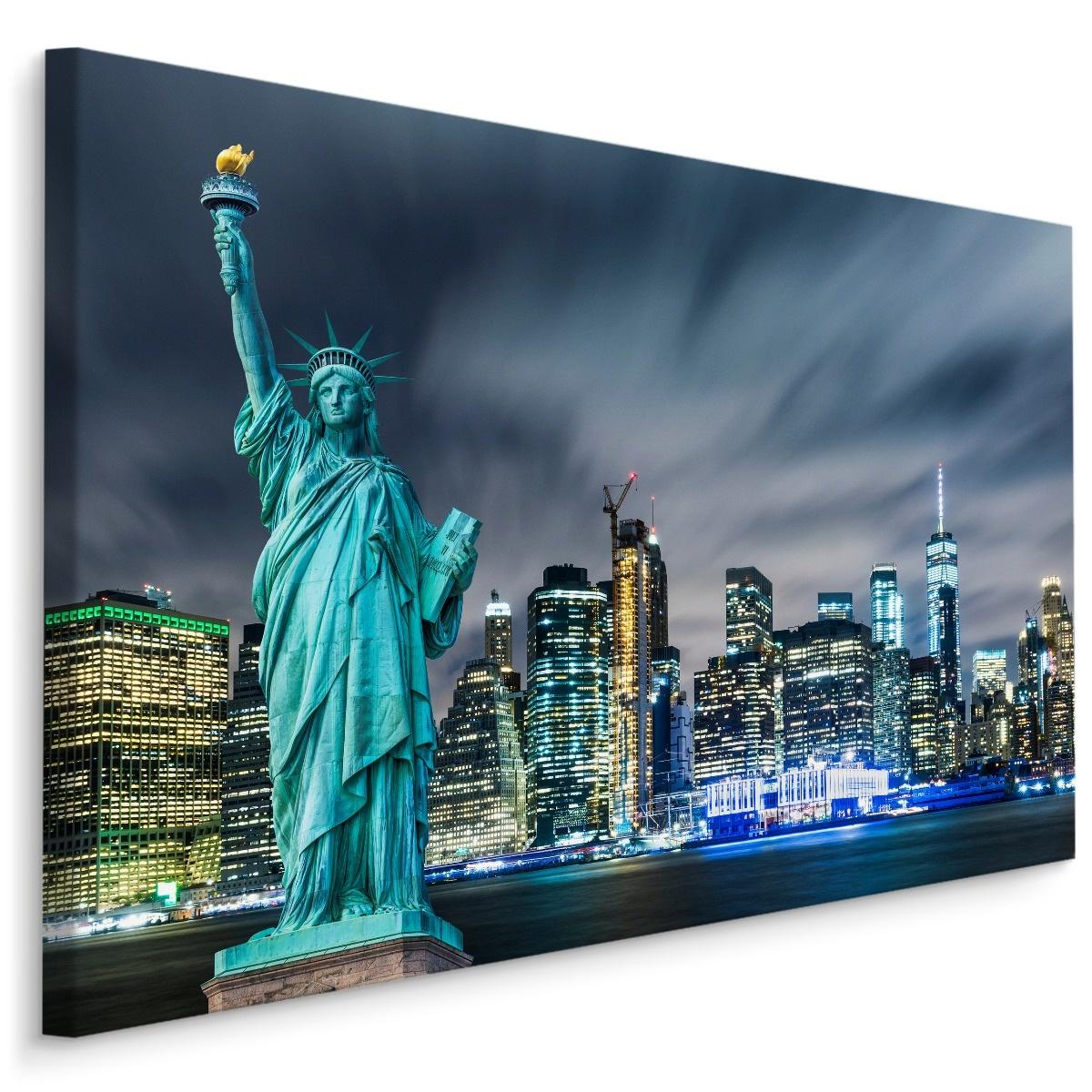 Schilderij - Vrijheidsbeeld in de avond, NYC, blauw, 4 maten, wanddecoratie