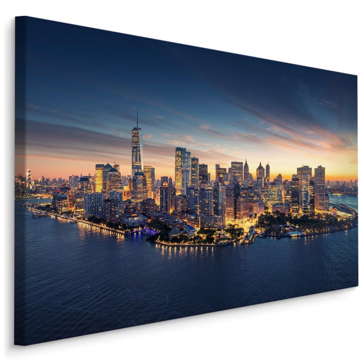 Schilderij Panorama van New York City in de avond, blauw, 4 maten, premium print
