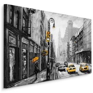 Schilderij - Regen in New York City (print op canvas), zwart-wit/geel, 4 maten, wanddecoratie