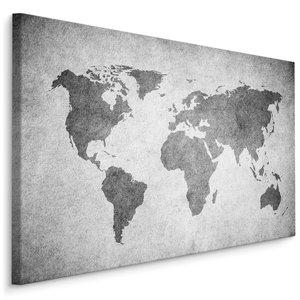 Schilderij - Grijze wereldkaart, 4 maten, wanddecoratie