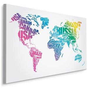 Schilderij - Wereldkaart met landnamen (engels), 4 maten, multi-gekleurd, wandecoratie