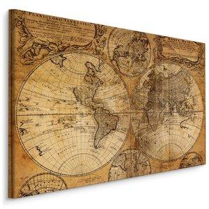 Schilderij - Oude wereldkaart, Sepia, 4 maten, wanddecoratie
