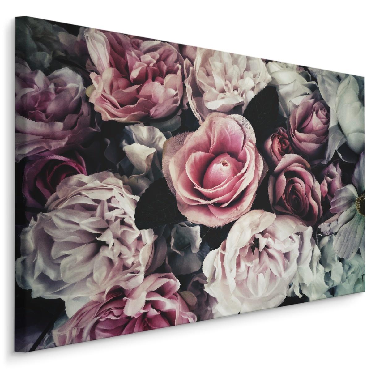 Schilderij - Vintage roze rozen, 4 maten, premium print