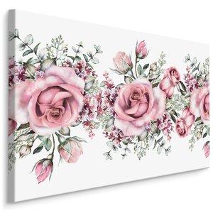 Schilderij - Roze rozen in Aquarel (print op canvas), 4 maten, wanddecoratie